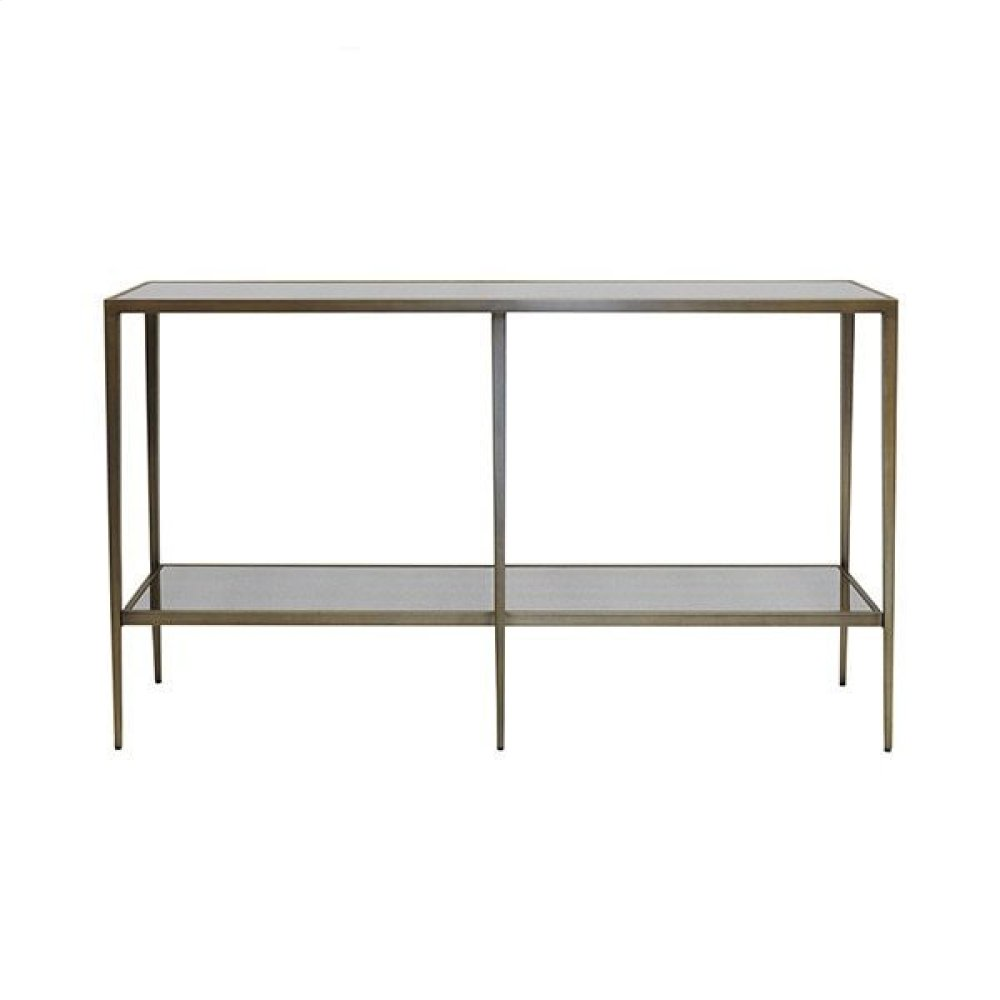 Tapered Leg Console In Painted Bronze With Antique Mirror
