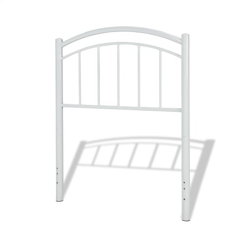 Rylan Fashion Kids Metal Headboard Panel with Gently Arced Top Rail and Vertical Spindles, Cotton White Finish, Twin