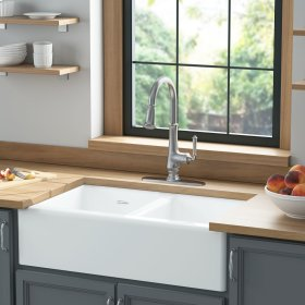 Delancey® 33 x 22 Double Bowl Apron Front Cast Iron Kitchen Sink  American Standard - Brilliant White