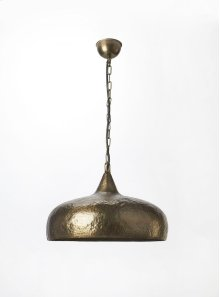This distinctive single light pendant is an attractive accent in virtually any space. Featuring a hammered antique brass finish, it is hand crafted from cast aluminum.