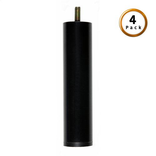 "6"" Metric Thread Black Cylinder Legs, 4-Pack"
