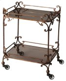 "Victorian steampunk serving cart, bronzed finished wrought iron adorns this serving cart. Featuring smoked tempered glass and ""pulley style castor feet. This serving cart will be the hit of any entertaining situation, it ahs neat and attractive appearance Product Image"