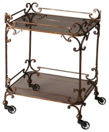 "Victorian steampunk serving cart, bronzed finished wrought iron adorns this serving cart. Featuring smoked tempered glass and ""pulley style castor feet. This serving cart will be the hit of any entertaining situation, it ahs neat and attractive appearance"