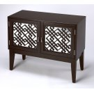 Glam meets Mid-century modern style with this eye-catching console cabinet. Crafted from rubberwood solids and wood products in a formal Black finish, this stunning design features mirrored door fronts with geometric latticework complete with polished sil Product Image