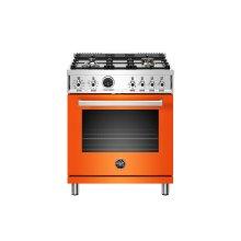 30 inch Dual Fuel Range, 4 Brass Burner, Electric Self-Clean Oven Arancio