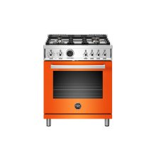 30 inch Dual Fuel Range, 4 Brass Burner, Electric Self-Clean Oven Arancio