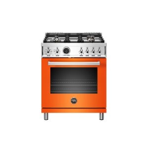 Bertazzoni30 inch Dual Fuel Range, 4 Brass Burner, Electric Self-Clean Oven Arancio