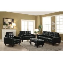 BLACK LEATHER GEL LOVESEAT