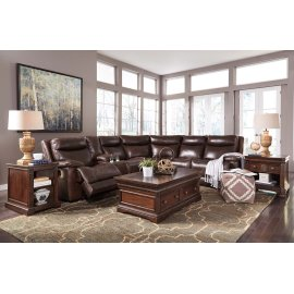 Zaiden 6-Pc Sectional LAF Zero Wall Pwr Recliner w/ Console, Armless Recliners, Wedge, and RAF Wall Pwr Recliner - Antique Collection