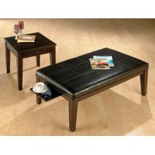 Rectangle Brown Faux Leather Ottoman W/ 2 Double Header Pull-out Trays - Packed W/ 2 End Tables In One Carton