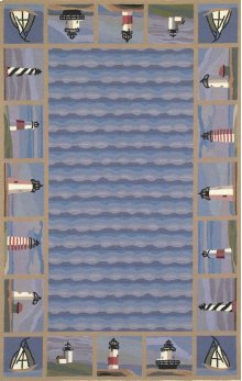 Colonial 1802 Blue Lighthouse Waves 2' X 8' Runner