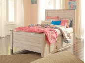 Willowton - Whitewash 4 Piece Bed Set (Twin)