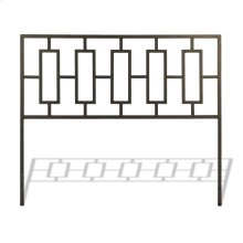 Miami Metal Headboard Panel with Geometric Designed Grill and Squared Tubing, Coffee Finish, Queen