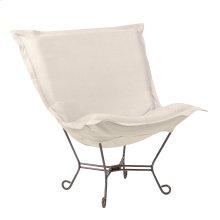 Scroll Puff Chair Sterling Sand Titanium Frame