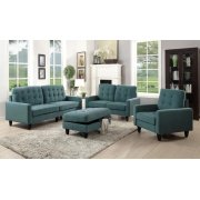 TEAL FABRIC OTTOMAN Product Image
