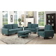 TEAL FABRIC LOVESEAT