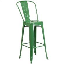 30'' High Green Metal Indoor-Outdoor Barstool with Back