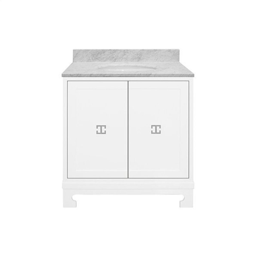 """Two Door White Lacquer Bath Vanity With Nickel Hardware and White Carrara Marble Top Features: - White Porcelain Sink Included - Optional White Carrara Marble Backsplash Included - for Use With 8"""" Widespread Faucet (not Included) -one Adjustable/removable Interior Shelf"""