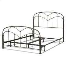 Pomona Complete Metal Bed and Steel Support Frame with Curved Grills and Detailed Posts, Hazelnut Finish, Queen