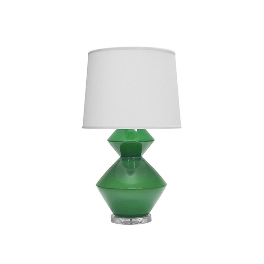 Two Tier Ceramic Table Lamp In Green With White Linen Shade