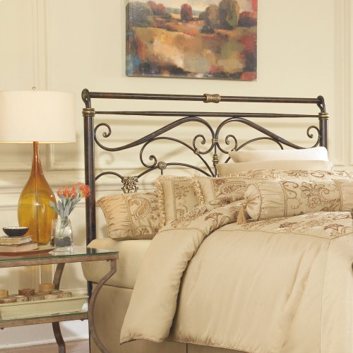 Lucinda Metal Headboard with Intricate Scrollwork and Sleighed Top Rail Panel, Marbled Russet Finish, Full