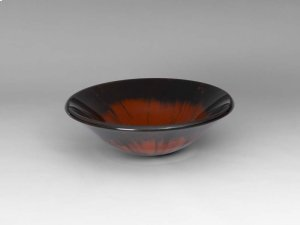 Round Tempered Glass Vessel Bathroom Sink in Red & Black Brush Pattern Product Image