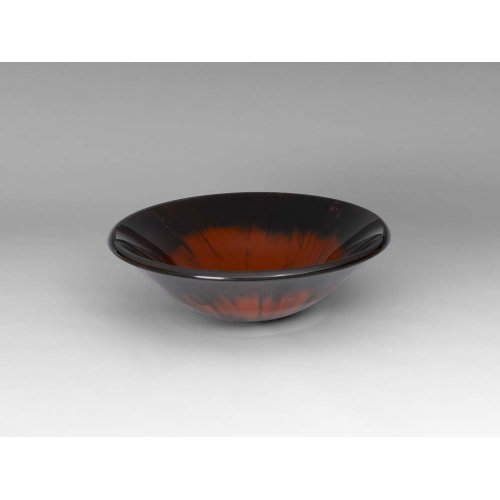 Round Tempered Glass Vessel Bathroom Sink in Red & Black Brush Pattern