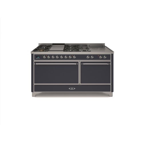 """Graphite with Chrome trim 60"""" - 6 Burner Dual Fuel Range + French Top + Griddle"""