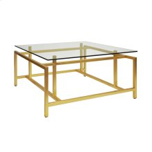 Modern Coffee Table With Glass Top In Gold Leaf