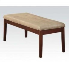 Walnut Bench W/cream Pu Product Image