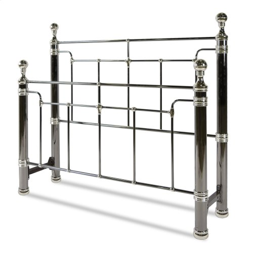 Northbrook Metal Headboard and Footboard Bed Panels with Antique Styling and Bold Finial Posts, Black Nickel and Chrome Finish, King