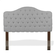Martinique Upholstered Adjustable Headboard Panel with Solid Wood Frame and Button-Tufted Design, Putty Finish, Full / Queen