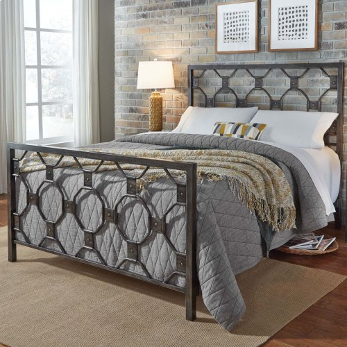 Baxter Metal Headboard and Footboard Bed Panels with Geometric Octagonal Design, Heritage Silver Finish, Full