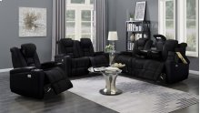 Transformers Black Power Leather Reclining Loveseat