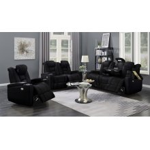 Transformers Black Power Leather Reclining Sofa