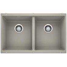 Blanco Precis Equal Double Bowl - Concrete Gray