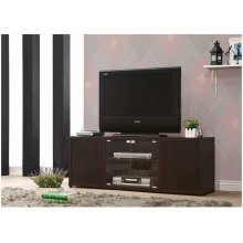 Casual Cappuccino TV Console With Push-to-open Glass Doors