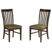 Mission Dining Chairs Set of 2 with Cappuccino Cushion in Walnut