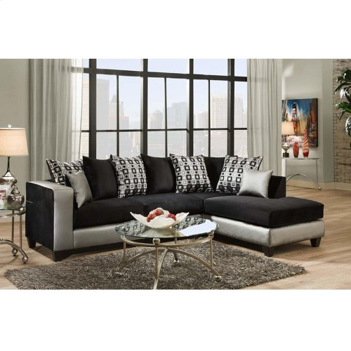 Implosion Black Velvet Sectional with Right Side Facing Chaise
