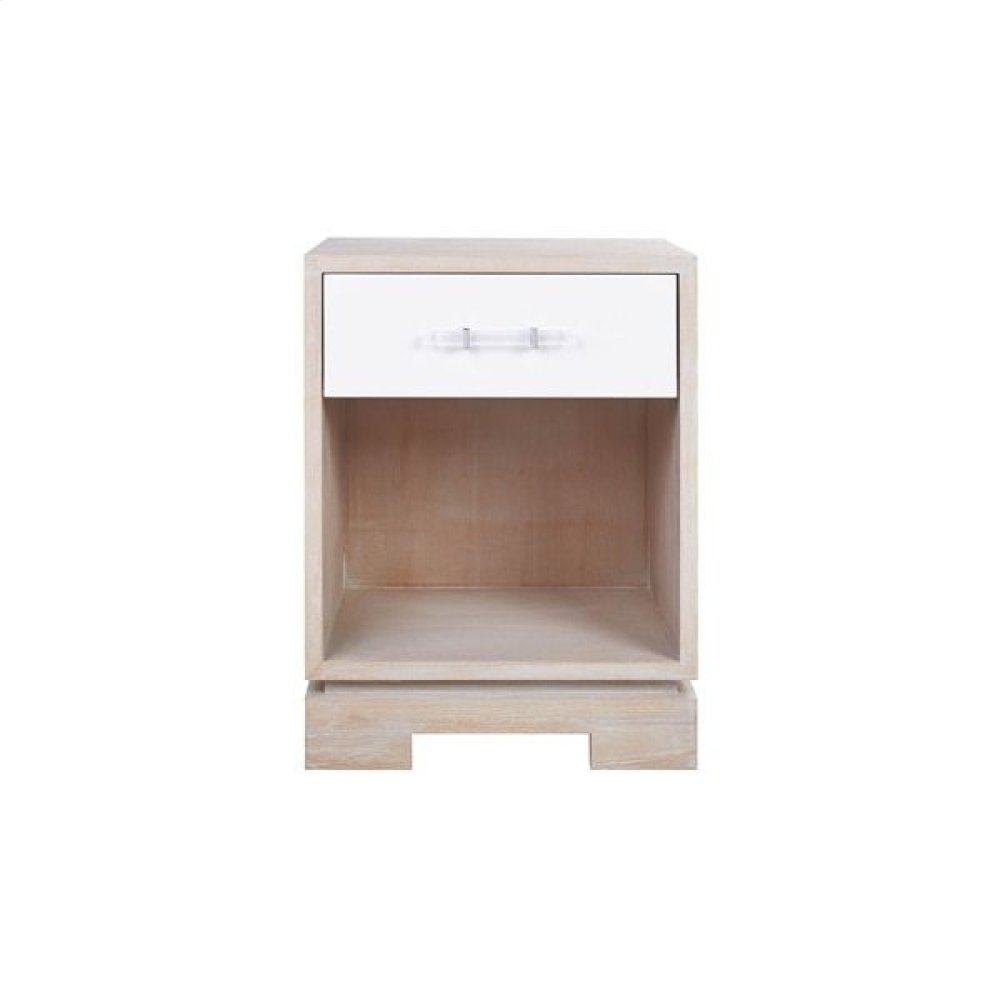 One Drawer Small Side Table With Acrylic and Nickel Hardware In Matte Lacquer and Cerused Oak