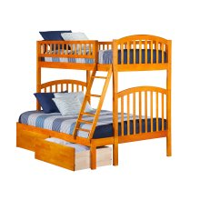 Richland Bunk Bed Twin over Full with Urban Bed Drawers in Caramel Latte
