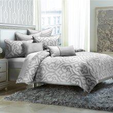 7pc Queen Comforter Set Silver