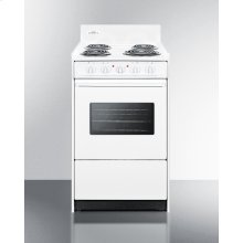 """20"""" Wide Electric Range In White With Oven Window, Interior Light, and Lower Storage Compartment"""
