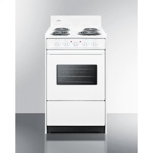 "Summit20"" Wide Electric Range In White With Oven Window, Interior Light, and Lower Storage Compartment"
