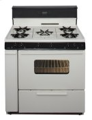 36 in. Freestanding Gas Range with 5th Burner and Griddle Package in Biscuit Product Image