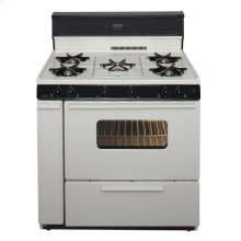 36 in. Freestanding Gas Range with 5th Burner and Griddle Package in Biscuit