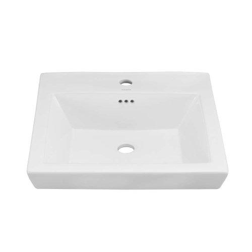 Square Tapered Ceramic Drop-in Bathroom Sink in White