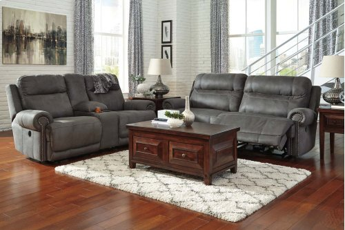 3840181  2 Seat Reclining Sofa & Double Reclining Loveseat - Austere Gray