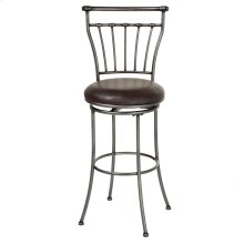 Topeka Swivel Seat Counter Stool with Striated Silver Finished Metal Frame and Coffee Faux Leather Upholstery, 26-Inch Seat Height