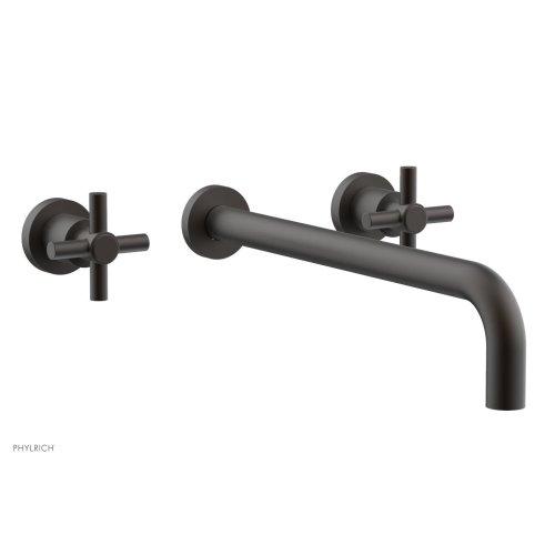 "Basic Wall Tub Set 14"" Spout - Tubular Cross Handles D1134-14 - Oil Rubbed Bronze"